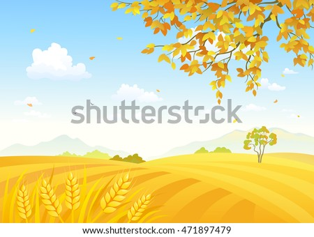 Vector illustration of a beautiful farm background with golden wheat fields stock photo