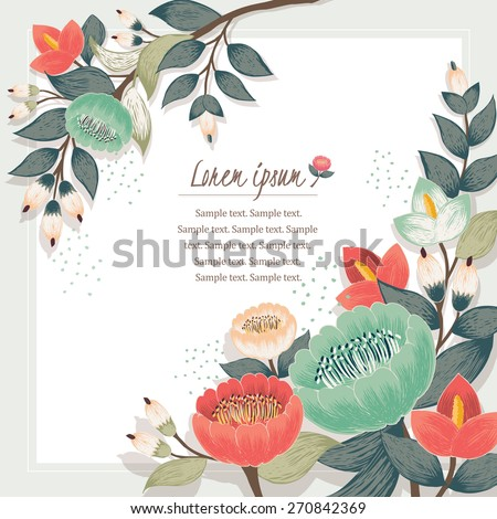 Vector illustration of a beautiful floral border with spring flowers. Beige background