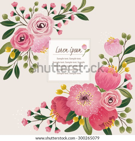 free vector summer vintage floral greeting card with garden flowers