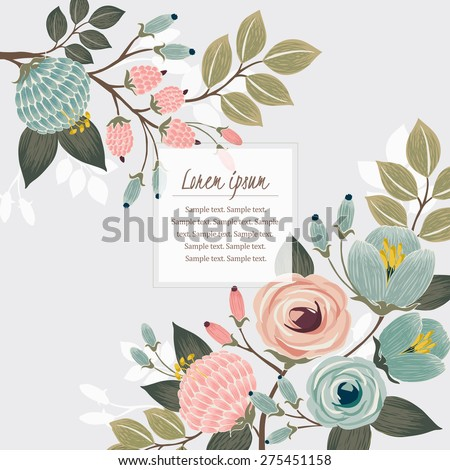 Vector illustration of a beautiful floral border with spring flowers. Light mint background