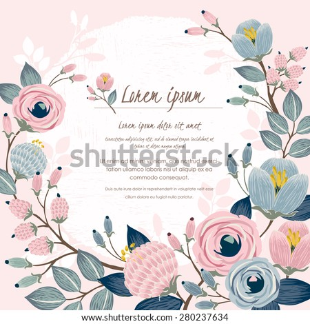 Vector illustration of a beautiful floral border with spring flowers. Light pink background