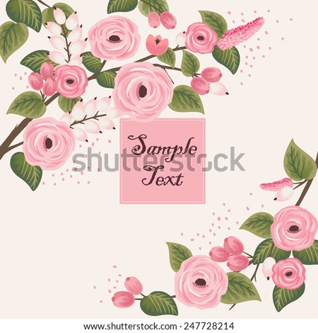 Vector illustration of a beautiful floral frame with branches. beige background #247728214