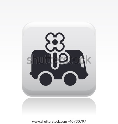 Vector illustration of a beautiful gray icon isolated in a modern style with a reflection effect depicting a flower delivery van
