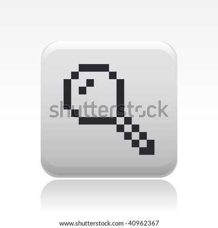 Vector illustration of a beautiful gray icon isolated in a modern style with a reflection effect depicting a magnifying glass or zoom stylized pixel