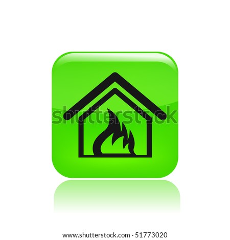 Vector illustration of a beautiful green icon isolated in a modern style with a reflection effect depicting a burning home