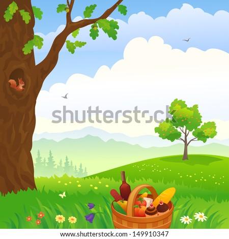 Cartoon Picnic Scene Picnic Scene in The Woods