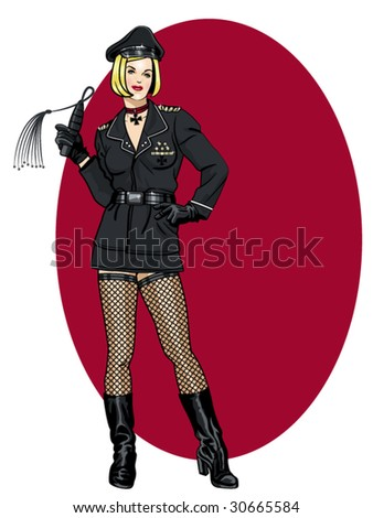 vector illustration of a beautiful pinup model in a WW2 german army uniform