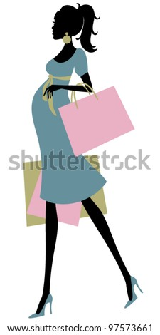 Vector illustration of a beautiful pregnant woman shopping. Raster version also available.