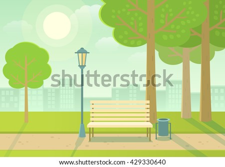 Vector illustration of a beautiful summer city park  with town building background. Evening in the park.