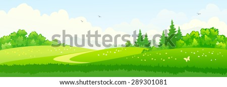 Vector illustration of a beautiful summer landscape