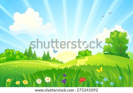 Vector illustration of a beautiful summer sunrise landscape