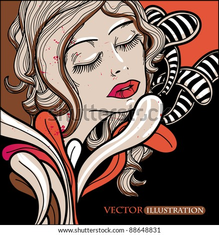 vector illustration of a beautiful woman and abstract colorful leaves