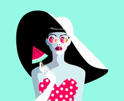 Vector illustration of a beautiful woman. Concept  for fashion, summer holiday, wedding, anniversary, birthday party in  pop art, retro, vintage style