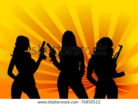 vector illustration of a beautiful woman holding a gun;