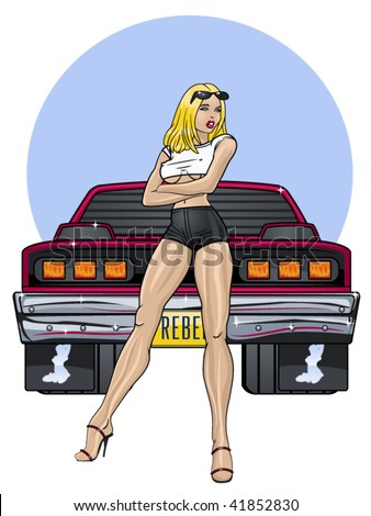 vector illustration of a beautiful woman leaning on a muscle car