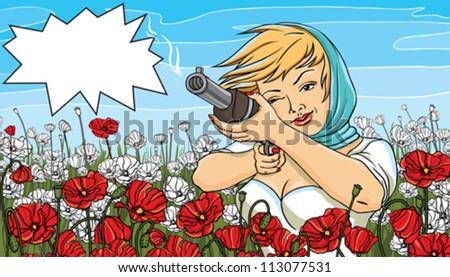 Vector illustration of a beautiful woman shoots a gun.