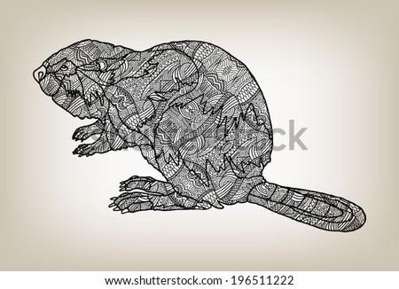 vector illustration of a beaver
