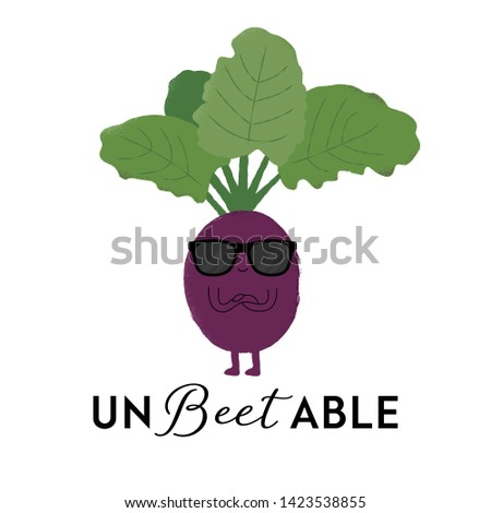 Vector illustration of a beetroot character wearing sunglasses with the funny pun 'Un-Beetable'. Cheeky T-Shirt design concept.