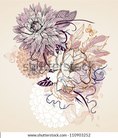 vector illustration of a beige flowers and butterflies