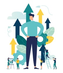 Vector illustration of a big businessman grows up in career, moving to the goal on the arrow, increases motivation
