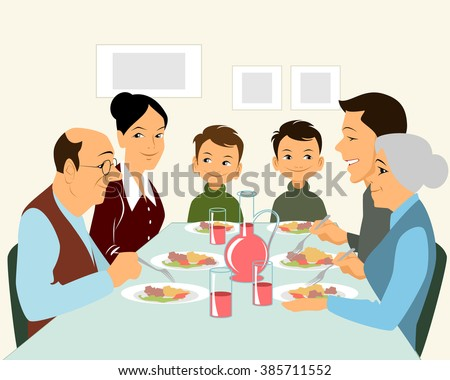 Vector illustration of a big family eating
