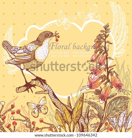 vector illustration of a bird and blooming flowers