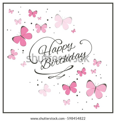 Vector Illustration of a Birthday Greeting Card with Pink Butterflies