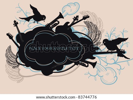 vector illustration of a black frame with flying birds and musical instruments on a floral background