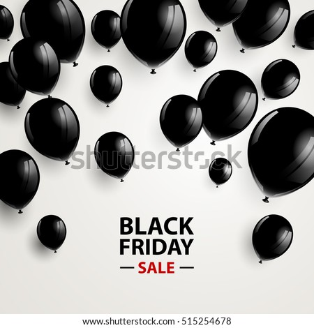 Vector Illustration of a Black Friday Sale Poster with Black Balloons