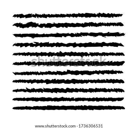 Vector illustration of a black jagged brush line on a white background Stock foto ©