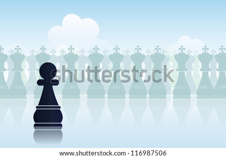 Vector illustration of a black pawn belittled with its surroundings.