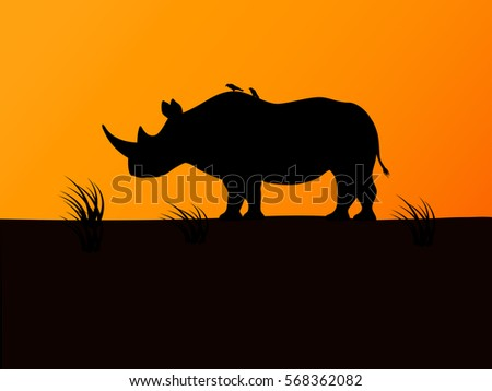 Vector illustration of a black rhino silhouette against a background sunset. Rhinoceros side view.