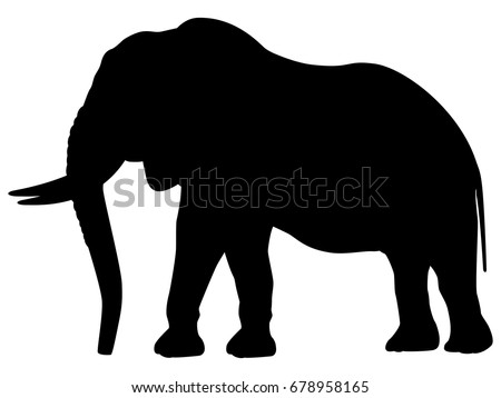 vector illustration of a black silhouette elephant isolated white background icon elephant side view