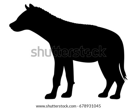 Vector illustration of a black silhouette hyena. Isolated white background. Icon predator hyena side view profile.