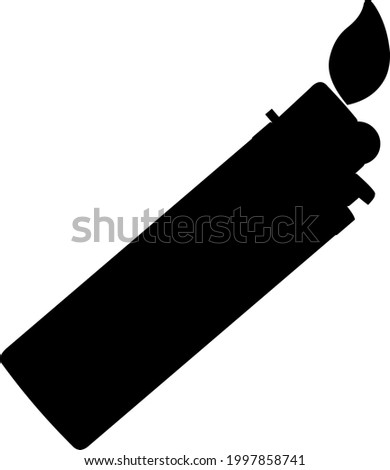 Vector illustration of a black silhouette of a lighter with a fire flame ストックフォト ©