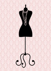 Vector illustration of a black tailor's mannequin. Elements are grouped and layered for easy editing. See similar illustrations in my portfolio.