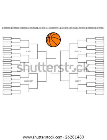 Vector illustration of a blank college basketball tournament bracket. - stock vector