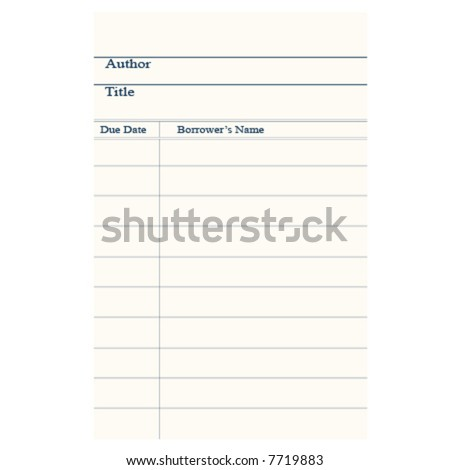 Vector illustration of a blank library signature card.