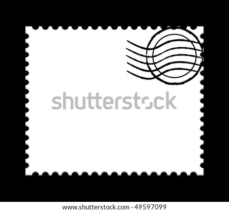 vector illustration of a  blank white post stamp on black background - stock vector
