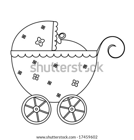 Vector illustration of a blue baby buggy, line-art.