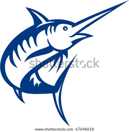 vector illustration of a blue marlin fish jumping isolated on white