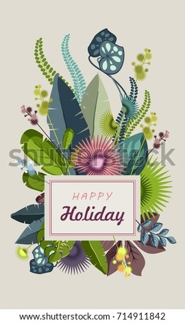 Vector illustration of a botanical composition of various tropical leaves decorate a copy space frame isolated on a white background