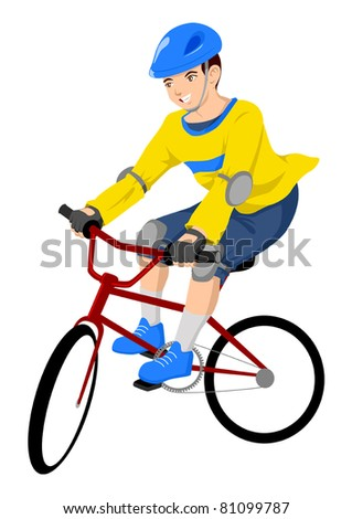 Vector illustration of a boy riding a bicycle