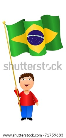 vector illustration of a boy with the flag of Brazil - stock vector