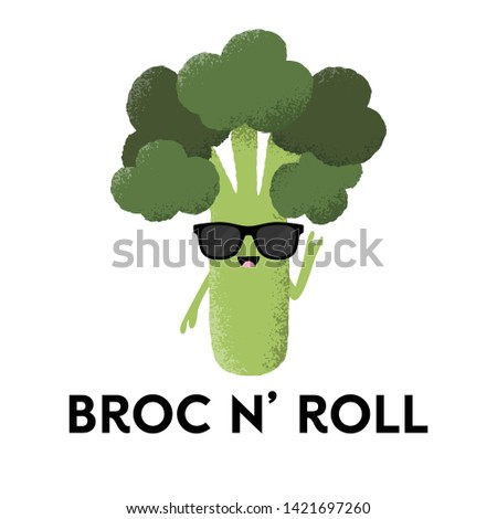 Vector illustration of a broccoli character wearing sunglasses with the funny pun 'Broc n Roll'. Fun T-Shirt design concept. Foto stock ©