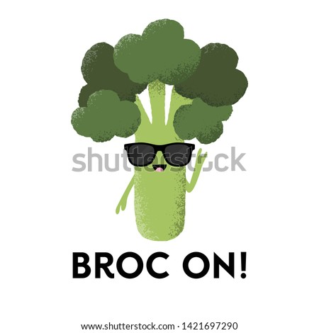 Vector illustration of a broccoli character wearing sunglasses with the funny pun 'Broc On!' Fun T-Shirt design concept. Foto stock ©