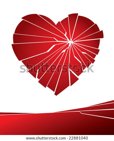 Vector illustration of a broken love heart.