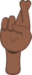 Vector illustration of a brown hand crossing fingers