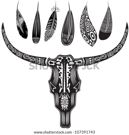 Vector illustration of a bull's skull with feathers in graphic style