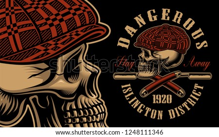 Vector illustration of a bully skull with the straight razors. Design for T-shirts. All elements, colors, text are on the separate groups.